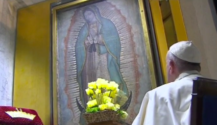 Pope reflection Guadelupe mass