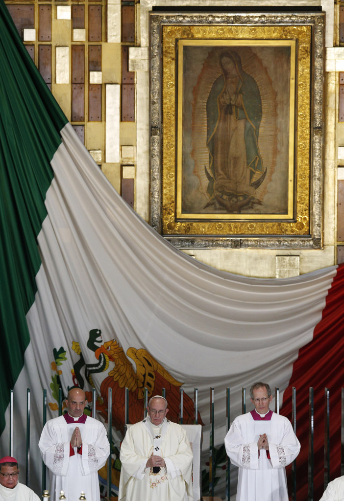 The original image of Our Lady of Guadalupe is seen as Pope Francis celebrates Mass in the Basilica of Our Lady of Guadalupe in Mexico City Feb. 13. (CNS photo/Paul Haring) See POPE-GUADALUPE Feb. 13, 2016.