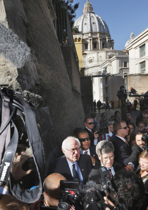 "Sen. Bernie Sanders, D-Vt., a U.S. presidential candidate, speaks to media outside the Vatican after delivering an address at a conference on Catholic social teaching April 15. The Vatican conference was dedicated to St. John Paul II's 1991 social encyclical ""Centesimus Annus"" and was sponsored by the Pontifical Academy of Social Sciences and the Institute for Advanced Catholic Studies. (CNS photo/Paul Haring) See VATICAN-ACADEMY-ECONOMICS-SANDERS April 15, 2016."