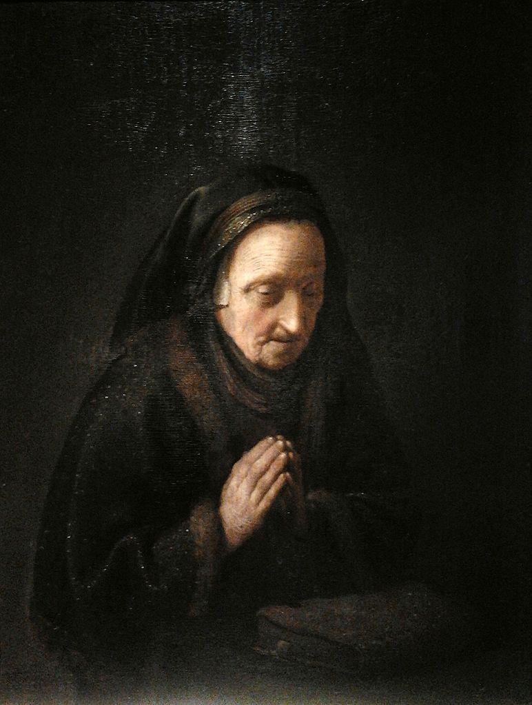 Fotos: commons.wikimedia.org Anciana rezando (también conocido como La madre de Rembrandt), de Gerrit Dou, 1630- 1635.