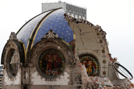 The destroyed dome of Our Lady of Angels Church is seen Sept. 24 following the Sept. 19 earthquake in Mexico City. (CNS photo/Carlos Jasso, Reuters) See MEXICO-QUAKE-RESPONSE-VOLUNTEERS Sept. 25, 2017.