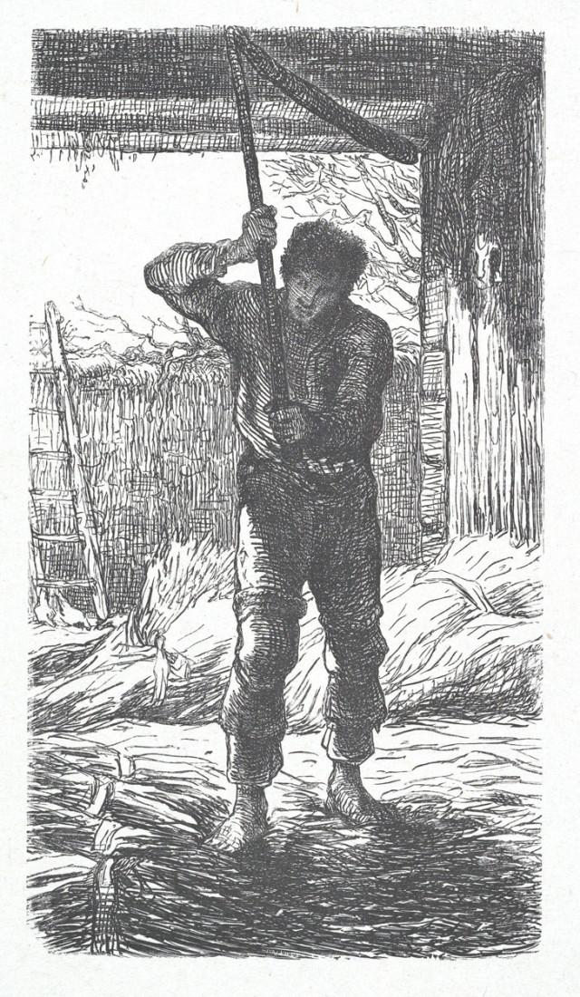Hombre limpiando trigo, 1850. Jean-François Millet