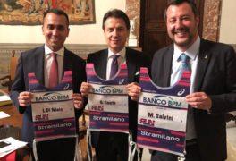Conte, ex Presidente del Consejo de los Ministros, Di Maio y Salvini Vicepresidentes del Consejo de los Ministros y protagonistas de la cisis de gobierno en Italia